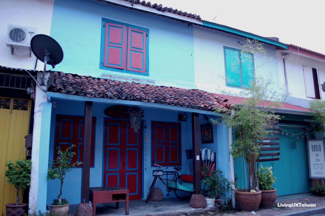 Blue framed door at Malacca Malaysia
