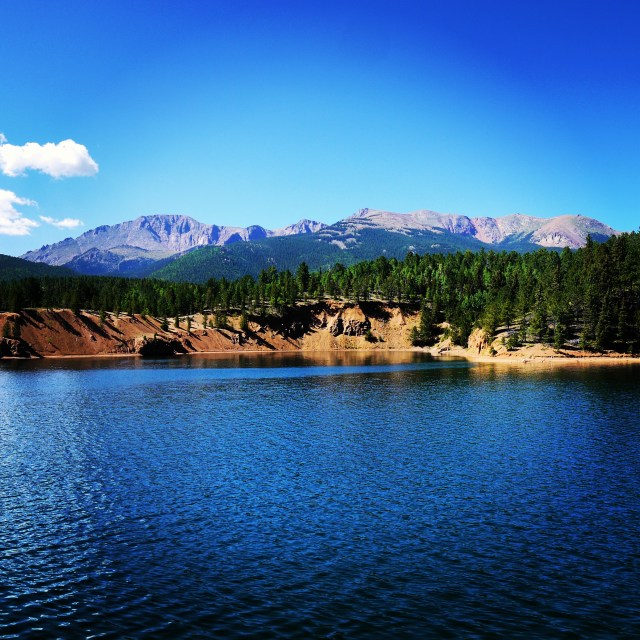 Catamount Resevoir with Pike's Pike in the background just outside Colorado Springs, Colorado.