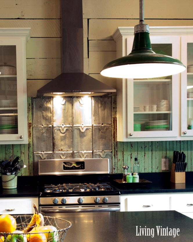 Living Vintage Kitchen Reveal View Of Both Backsplashes And Original Painted Wood Walls
