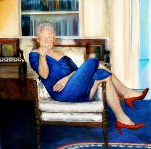 Comic photo of Bill Clinton wearing Monica Lewinski's blue dress