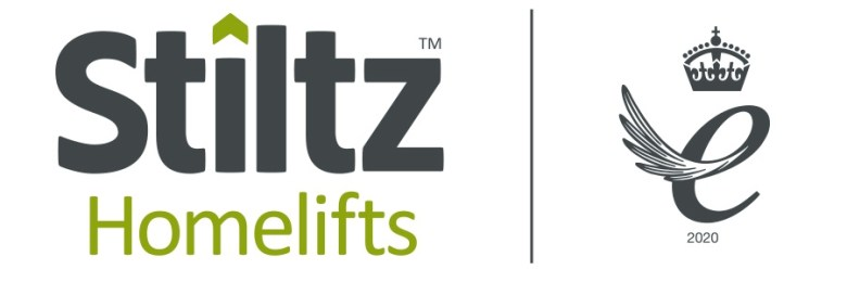 Stiltz Homelifts Logo and Queens Enterprise award win image for this innovative home lift company