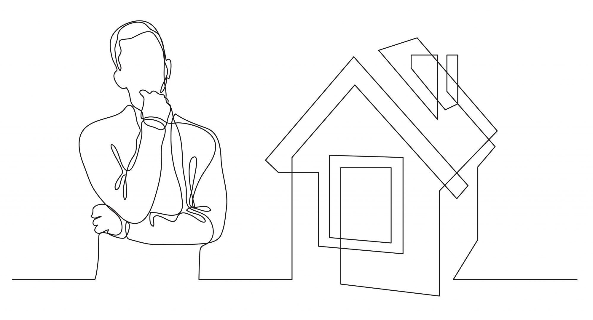 Pencil drawings of a man thinking about the house to his right