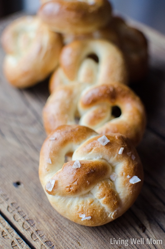 These Soft Pretzels are so delicious, you won't believe how easy this recipe is to make! (No waiting for dough to rise!) It's so simple, kids will love helping, especially shaping pretzels into letters, shapes, etc. This is a great activity for kids in the kitchen!