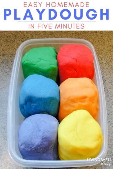 colorful easy homemade playdough