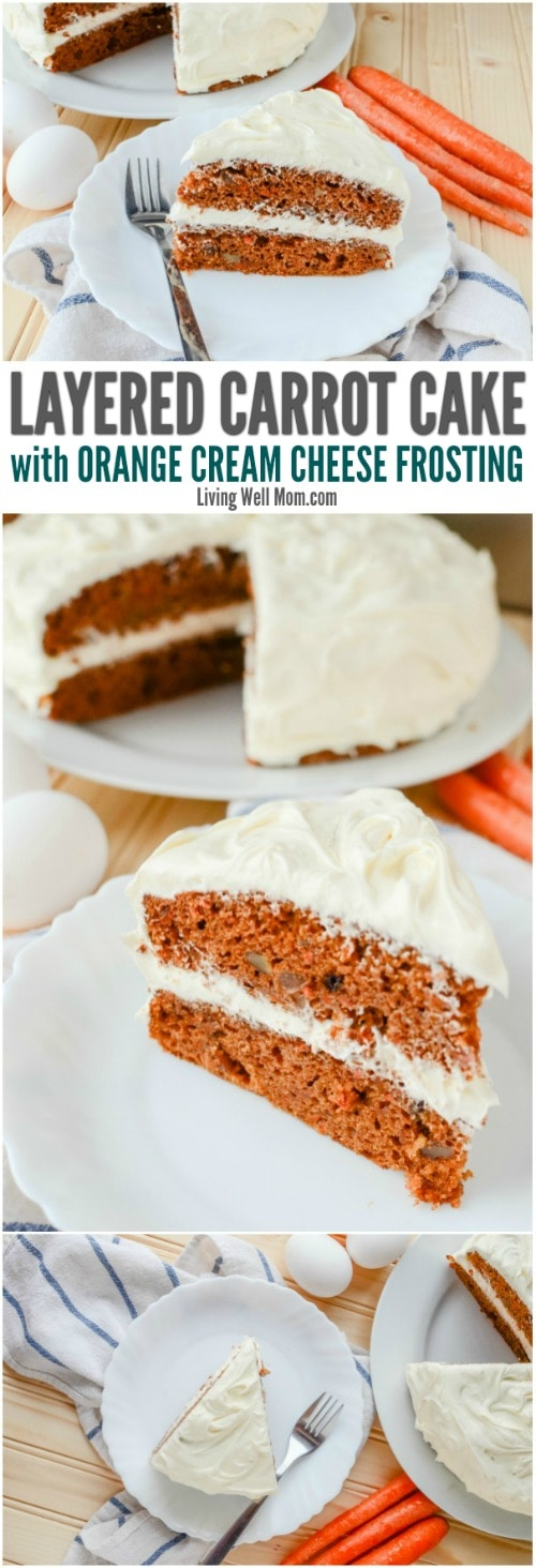 This isn't your average carrot cake recipe - in fact, this Layered Carrot Cake with Orange Cream Cheese frosting is one of the most mouth-watering, delicious cakes you'll probably ever taste! And you won't believe just how easy this family-favorite dessert is to make too!