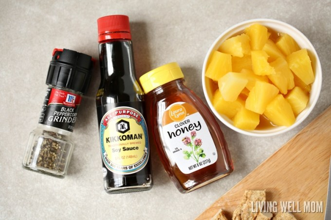 rice, soy sauce, honey, canned pineapple