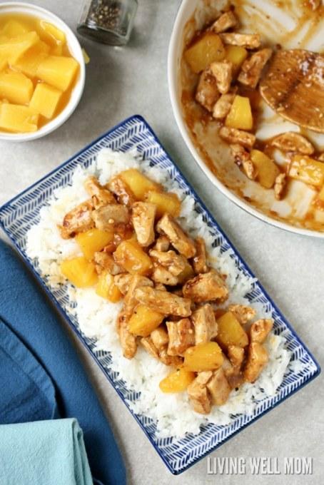 tasty pineapple chicken on rice gluten free dinner