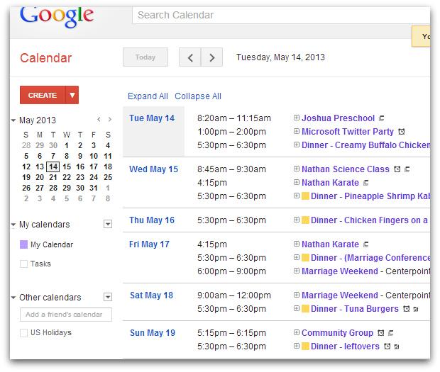 Menu on Google Calendar