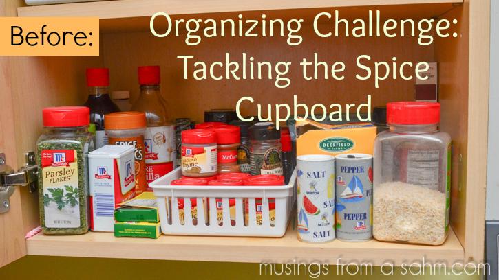 organizing spice cupboard