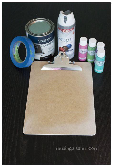 DIY Chalkboard Clipboard Supplies