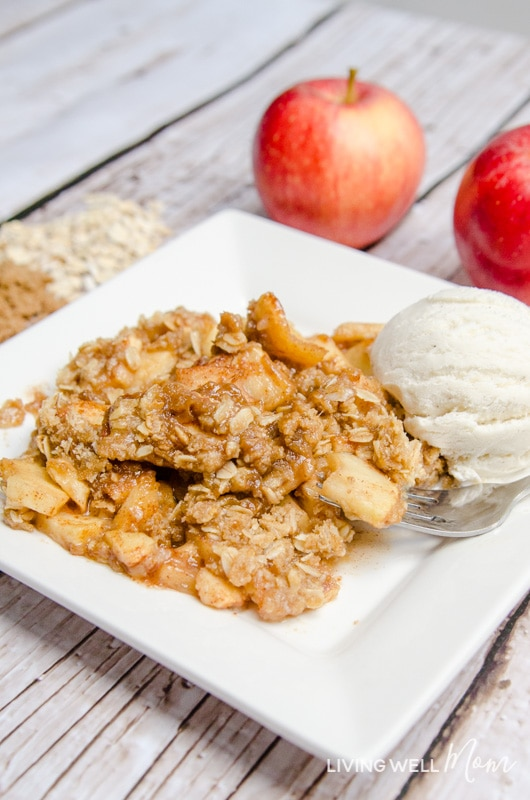 """The delicious combination of spices melds perfectly with this secret-ingredient Homemade Apple Crisp recipe. Plus it's gluten-free and so easy to make, even a """"non-baker"""" can make a batch of this favorite fall dessert!"""