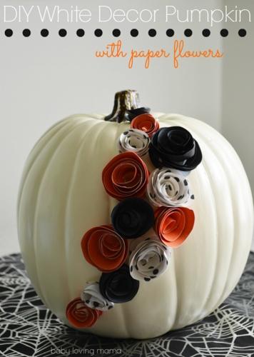 DIY-White-Decor-Pumpkin-with-Paper-Flowers
