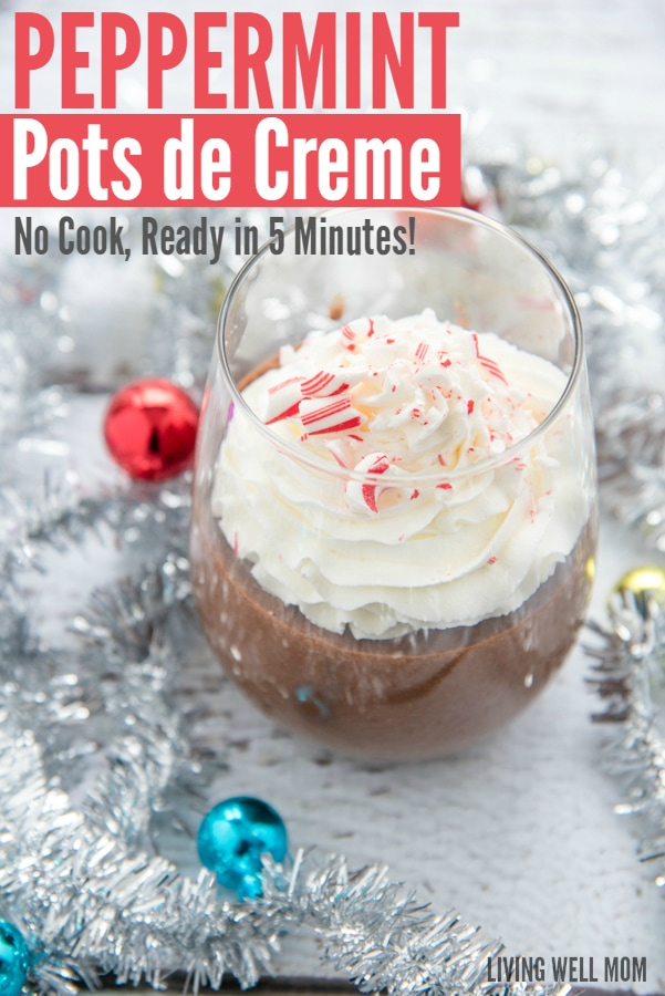 Peppermint Pots de Creme is a rich, no-bake, no-cooking-required chocolate dessert with a hint of mocha and peppermint. This recipe is unbelievably simple to make and perfect with whipped cream and bits of peppermint sprinkled on top!