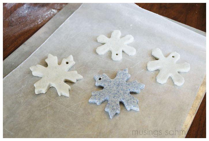 Glitter Salt Dough Snowflakes drying