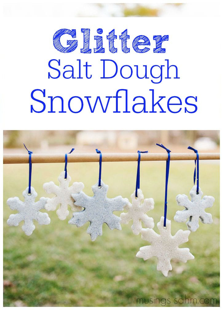 Glitter Salt Dough Snowflakes Tutorial: this fun craft is easy to make and low-mess with no food coloring to stain little fingers.