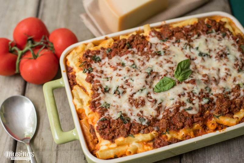 A hearty family favorite meal that's great for any time of the year, Simply Baked Ziti is easy to make and simply delicious.