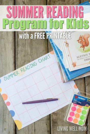 DIY summer reading program for kids with printable chart