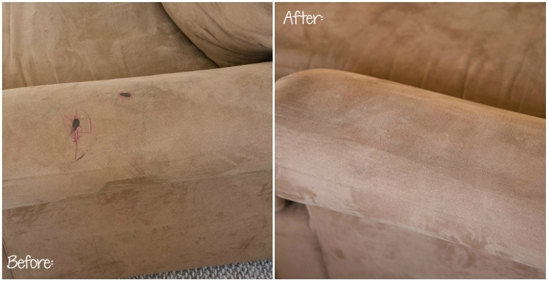 microfiber couch clean before after