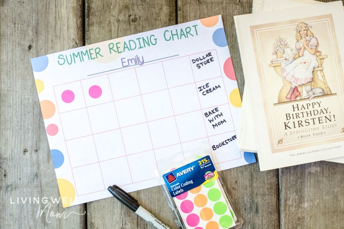 summer reading chart with stickers and books