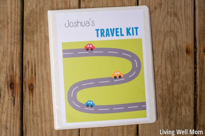 kids' travel kit activity binder on table