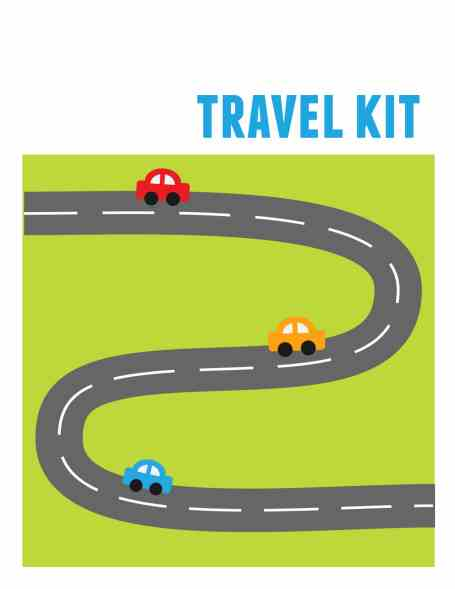 travel kit free printable template with cars on road and green grass