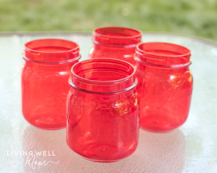 red plastic containers for homemade bubble solution