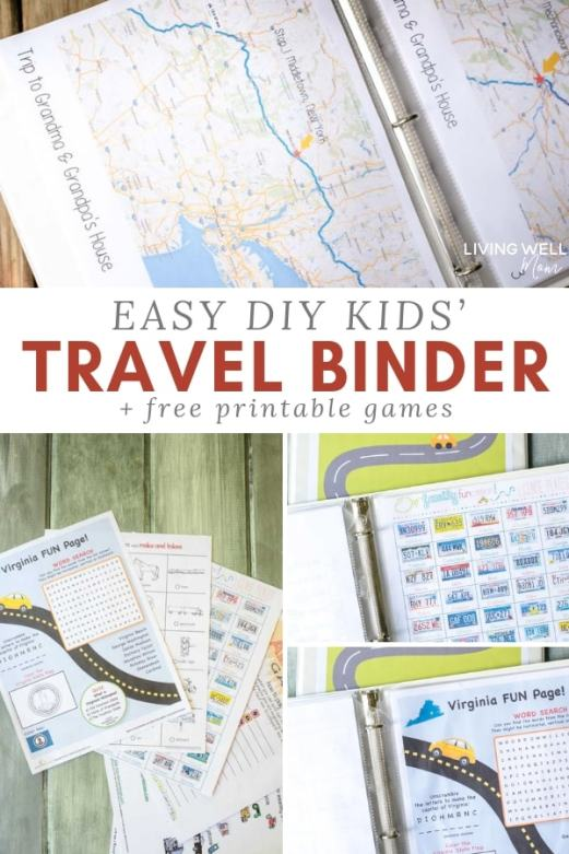 easy diy kids' travel binder with free printable travel games