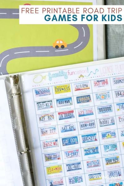 free printable road trip games for kids including license plate