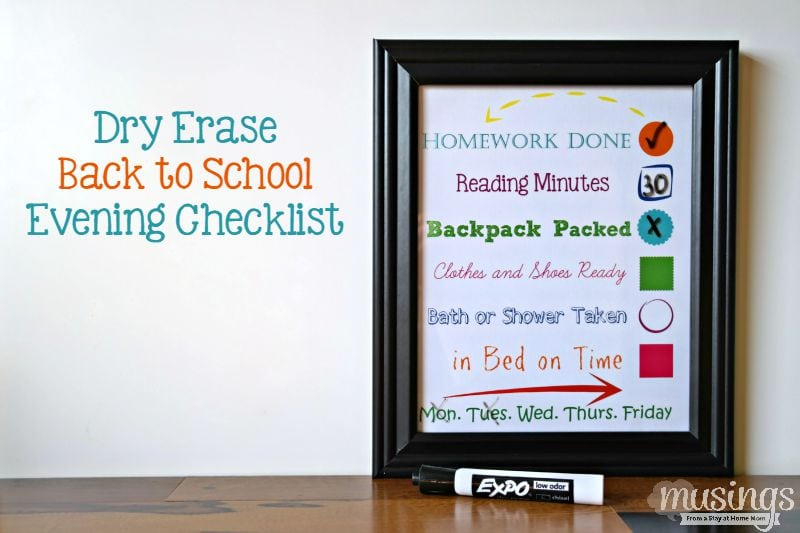 dry erase back to school checklist
