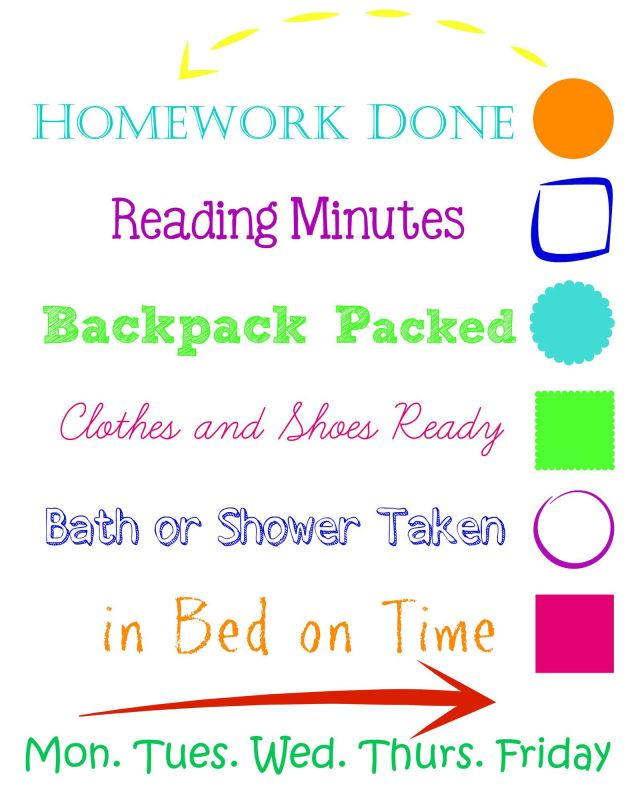 Dry Erase Back to School Evening Checklist
