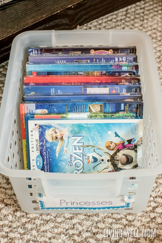 Disney movies in a plastic storage container