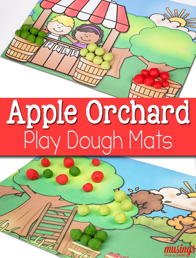 Celebrate fall and apple-picking season with these free printable Playdough Mats for kids. Young children will love this fun activity where they learn all about apples and practice fine-motor skills.