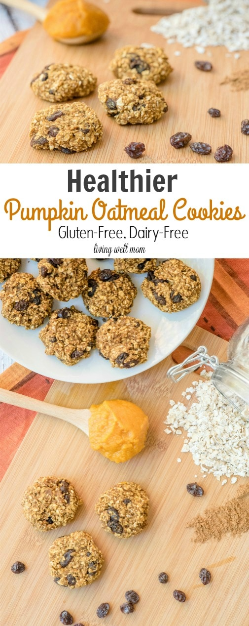 Healthy Pumpkin Oatmeal Cookies are just as tasty as the traditional version, but have less sugar and are gluten free and dairy free. This kid and mom-approved recipe is so quick and easy to make, the kids will love helping!