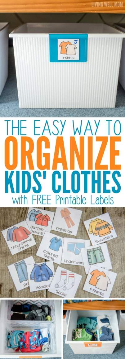 The Easy Way to Organize Kids' Clothes with Free Printable