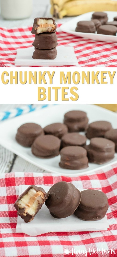 With chocolate, peanut butter, and banana, tasty Chunky Monkey Bites are a hit with kids. They're a perfect less-processed treat for a special treat or even an after-school snack. This recipe is gluten-free too!
