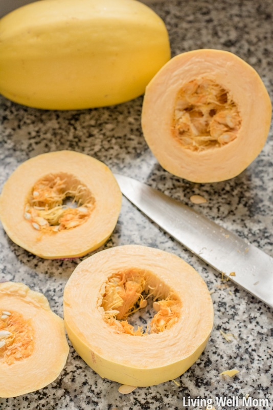 """Love using spaghetti squash as a healthy pasta alternative in your cooking, but hate how long it takes to cook? Here's the quick and easy way to cook spaghetti squash that will save you time and frustration! Plus you'll get longer spaghetti """"noodles!"""""""