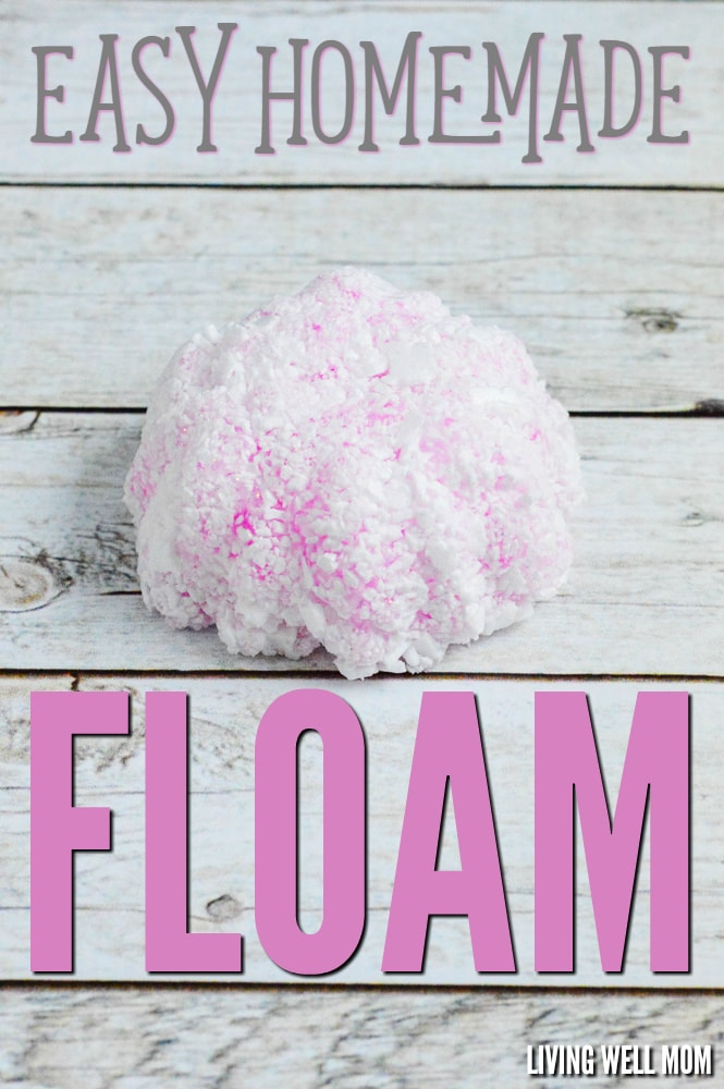 Looking for a fun rainy day activity for the kids? This Homemade Floam is super easy to make (check out the step-by-step photo directions here) and kids will love the result! Your wallet will too because the homemade version is much cheaper than the store stuff!