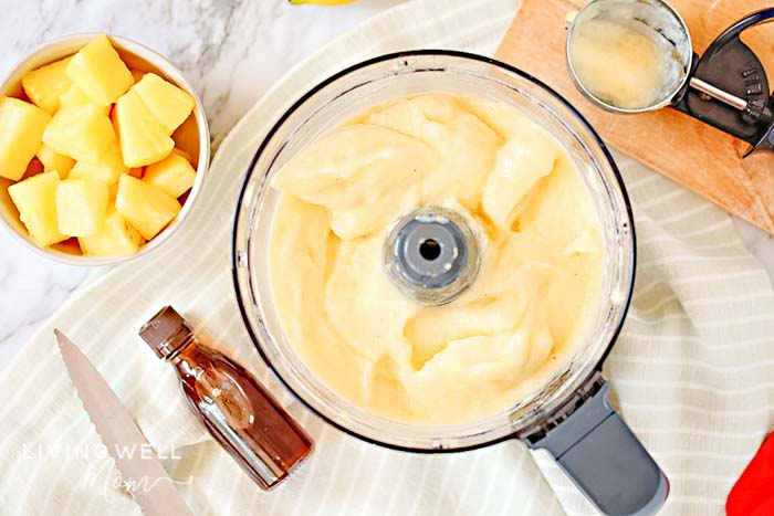 making pineapple dole whip in a food processor