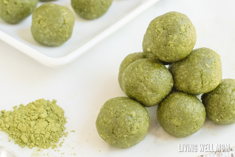 """""""In just 5 minutes, you can whip up a batch of these delicious Matcha Green Tea Energy Bites. This recipe is a perfect healthy pick-me-up for any time of the day. (Gluten-free, dairy-free, grain-free, and Paleo-friendly) """""""