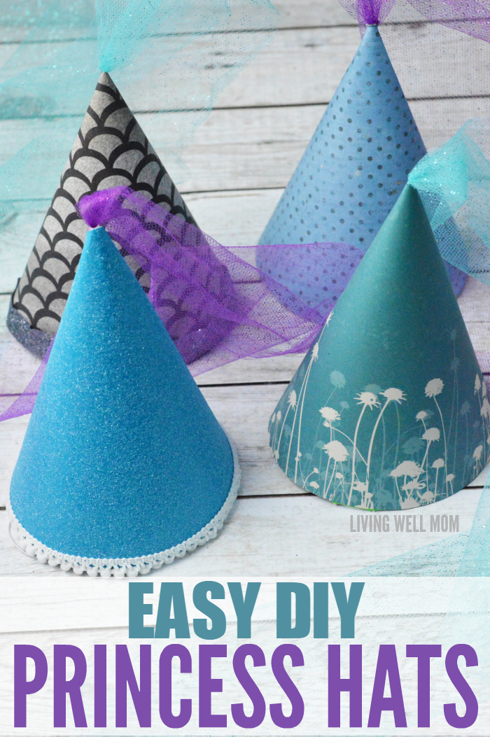 These DIY Princess Hats are easy to make and perfect for any princess! You can use them for dress-up play or as a fun birthday party activity or craft! Plus they're so easy to make, even us non-crafty moms can do it!