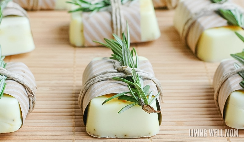 Soap-making is easier than you thought! Here's how to make homemade Rosemary Citrus Goat's Milk Soap Bars. With a perfect blend of essential oils, it's all-natural and great for your family or as a homemade gift!