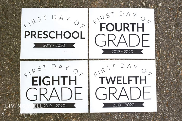 picture regarding Free Printable Back to School Signs identified as Totally free Printable Initial Working day of Higher education Indicators for All Grades