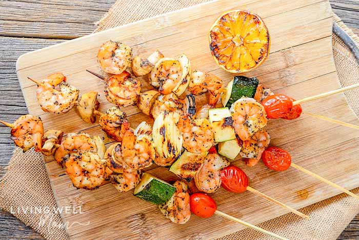 grilled shrimp kabobs with lemon garlic zucchini tomatoes