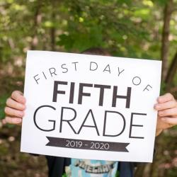 first day of school sign fifth grade 2019 2020
