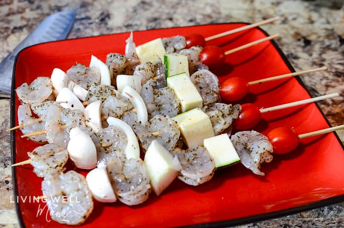 bbq shrimp skewers recipe on plate
