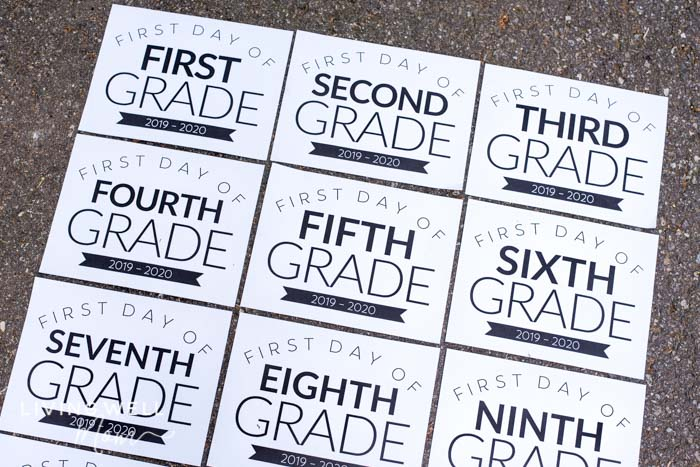 picture regarding Printable First Day of School Signs titled Totally free Printable To start with Working day of Higher education Symptoms for All Grades