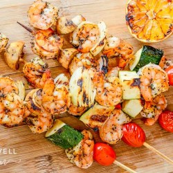 grilled shrimp recipe with lemon garlic vegetable skewers