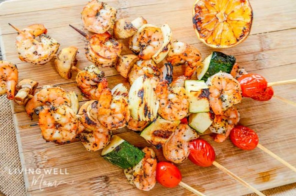 grilled shrimp recipe with lemon garlic vegetable skewers