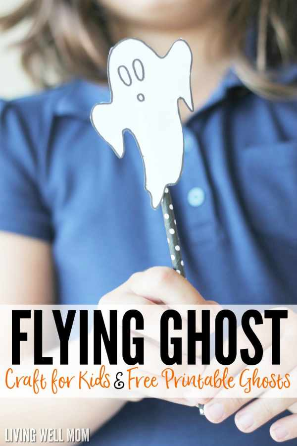 Flying ghosts are a quick and easy, no-mess Halloween activity for kids. Plus download a free ghost printable to make this craft even simpler!