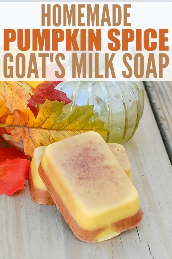 Homemade Pumpkin Spice Goat's Milk Soap - this DIY soap recipe is easy to make and smells just like pumpkin pie with essential oils and spices. It would make a wonderful homemade gift too!